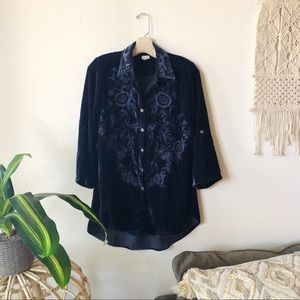 KYLA SEA DEEP SAPPHIRE VELVET EMBROIDERED BLOUSE S